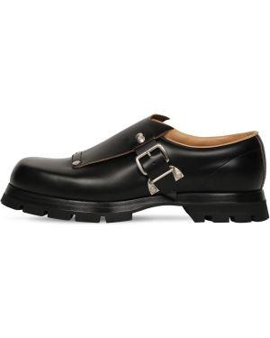 Czarne loafers skorzane klamry Jil Sander