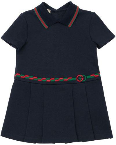 Pofałdowany bawełna bawełna sukienka Gucci