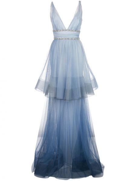 Платье с открытой спиной с V-образным вырезом Marchesa Notte