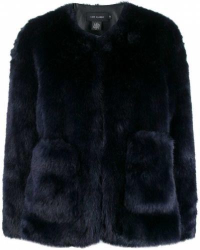 Синяя длинная куртка круглая Low Classic