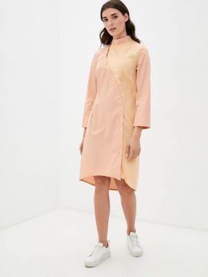 Оранжевое повседневное платье Adzhedo