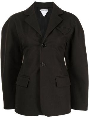 Хлопковый коричневый удлиненный пиджак с карманами Bottega Veneta