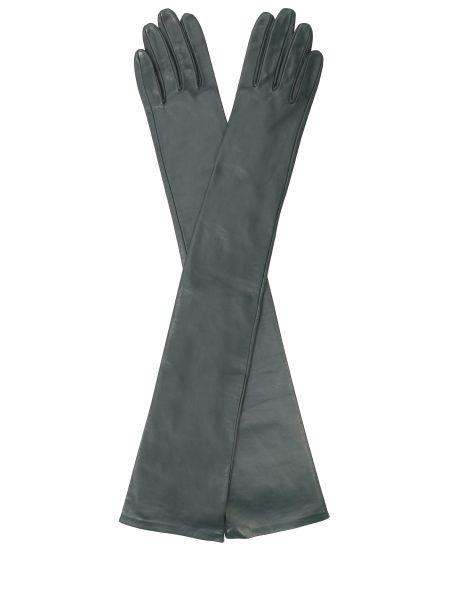 Кожаные перчатки зеленый шелковые Sermoneta Gloves