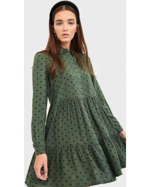 Платье платье-рубашка с оборками Stradivarius