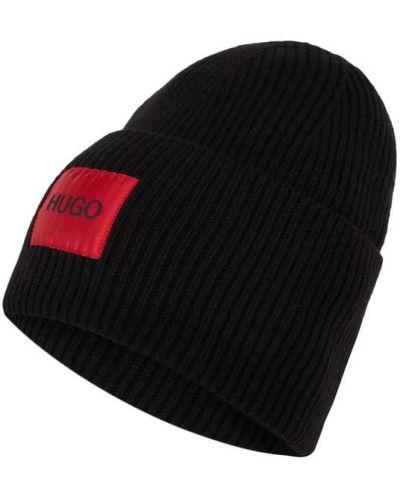 Prążkowana czarna czapka wełniana Hugo