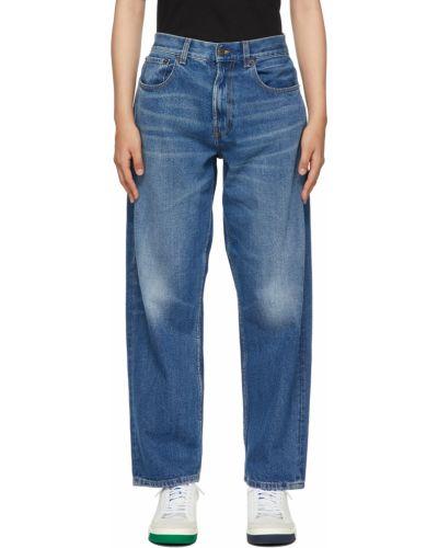 Синие прямые джинсы на шпильке 6397