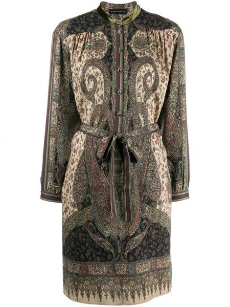 Платье с поясом на пуговицах с отложным воротником Etro