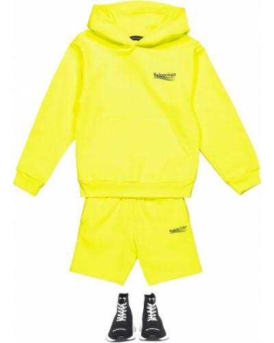 Żółty bawełna bawełna szorty Balenciaga Kids
