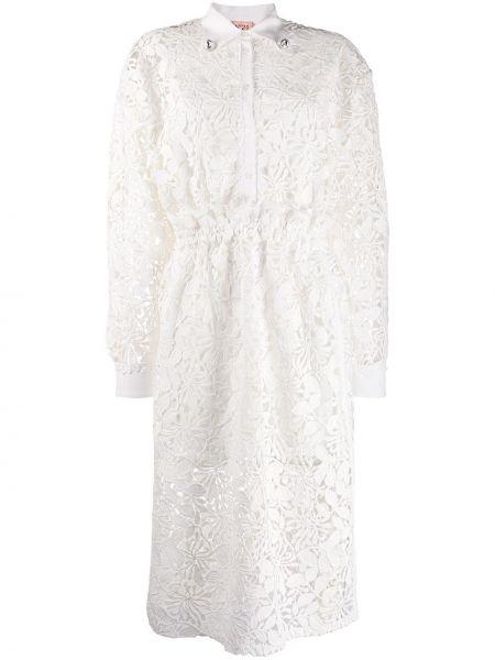 Прямое приталенное платье миди с вышивкой на пуговицах N°21