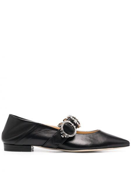Czarny buty brogsy z prawdziwej skóry z klamrą płaska podeszwa Giannico