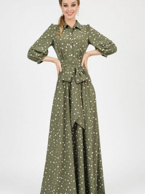 Платье рубашка - зеленое Marichuell