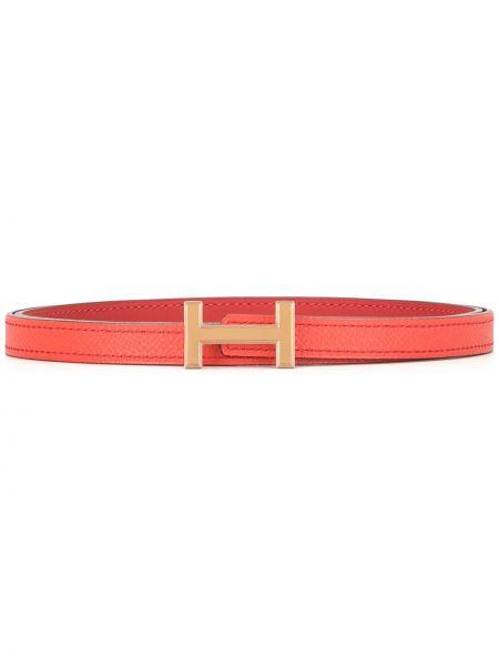 Кожаный красный тонкий ремень винтажный двусторонний Hermès