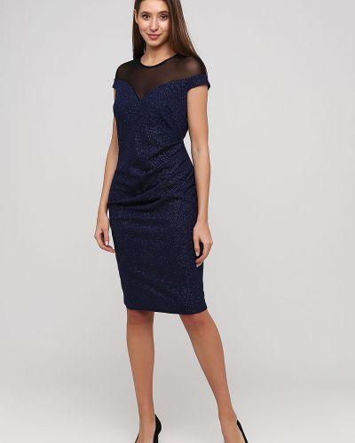 Синее вечернее платье без рукавов со стразами City Goddess