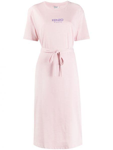 Платье с поясом розовое спортивное Kenzo