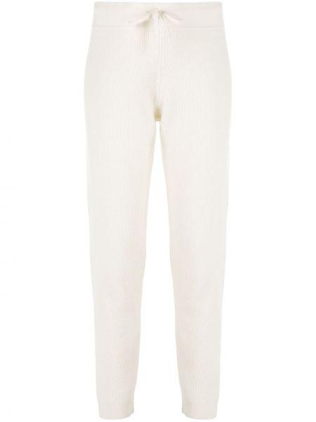 С завышенной талией шерстяные белые спортивные брюки Cashmere In Love