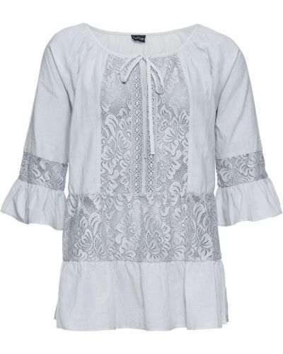 Серебряная батистовая блузка с оборками с поясом Bonprix
