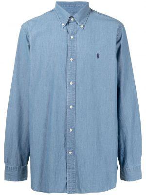 Хлопковое синее платье рубашка Polo Ralph Lauren