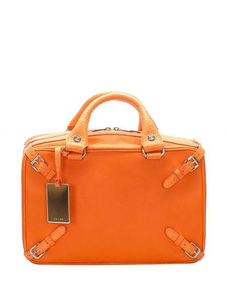 Кожаная оранжевая сумка-тоут на молнии с подвесками Céline Pre-owned