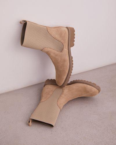 Кожаные ботинки челси - бежевые 12storeez
