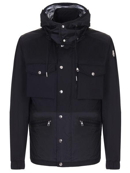 Черная куртка с капюшоном на резинке на молнии с манжетами Moncler