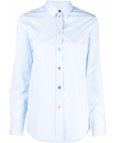 Синяя классическая рубашка с длинными рукавами с воротником Paul Smith