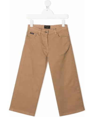 Bawełna skórzany jeansy o prostym kroju z kieszeniami z łatami Dolce & Gabbana Kids