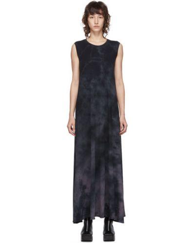 Ватное черное платье макси с воротником без рукавов Raquel Allegra