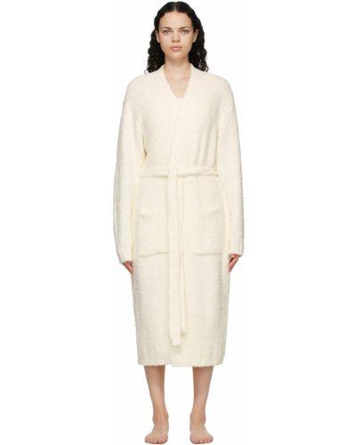 Biały długi szlafrok z paskiem z długimi rękawami Skims