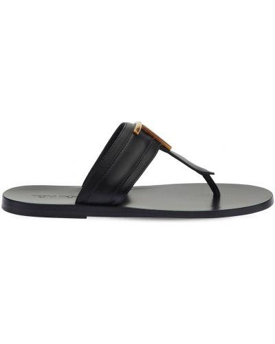 Кожаные черные стринги на каблуке Tom Ford