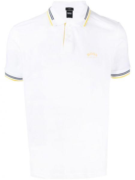 Biała koszula bawełniana w paski Boss Hugo Boss