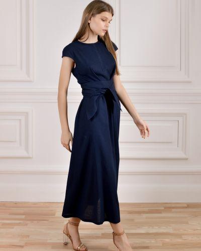 Льняное платье макси с поясом Dolcedonna