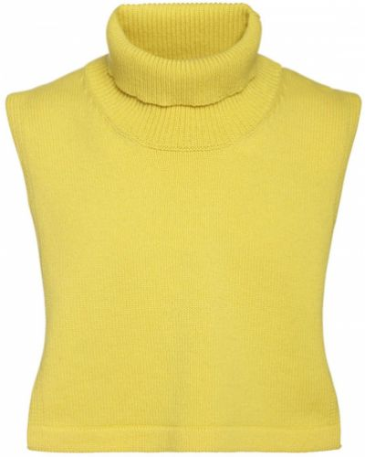 Prążkowany żółty z kaszmiru golf Jil Sander