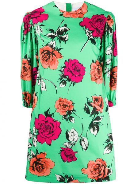 Платье мини розовое с цветочным принтом Msgm