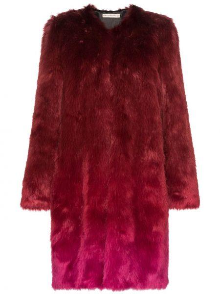 Красная длинное пальто из искусственного меха круглая Mary Katrantzou