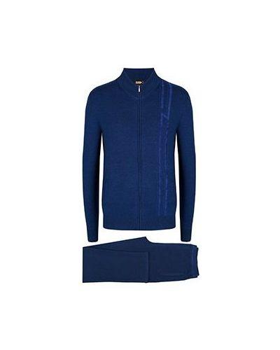Костюмный кашемировый синий спортивный костюм Zilli