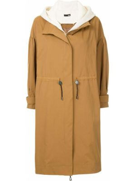 Длинное пальто с капюшоном айвори Frei Ea