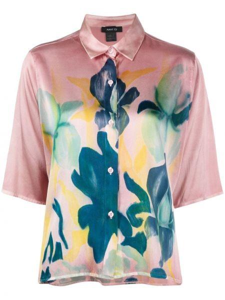 Розовая шелковая классическая рубашка с короткими рукавами Avant Toi