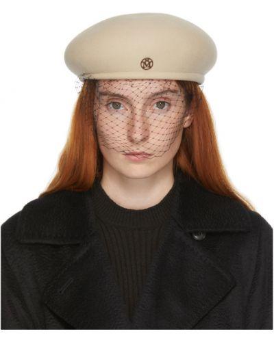 Нейлоновая бежевая кепка с сеткой сетчатая Maison Michel