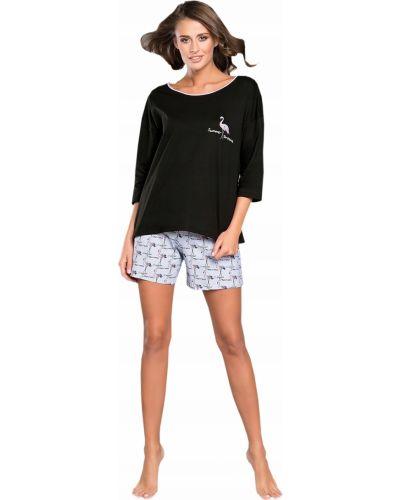 Czarna piżama bawełniana Italian Fashion