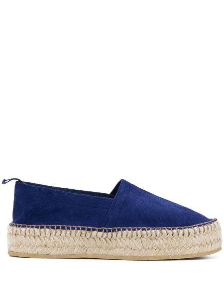 Плетеные синие кожаные эспадрильи без застежки Scarosso
