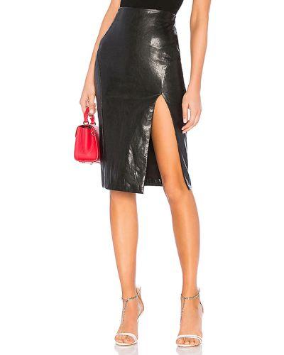 Czarny włókienniczy spódnica midi z zamkiem błyskawicznym prążkowany Superdown