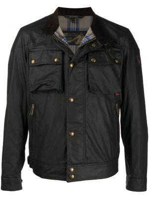 Czarny bawełna długa kurtka z długimi rękawami z kieszeniami Belstaff