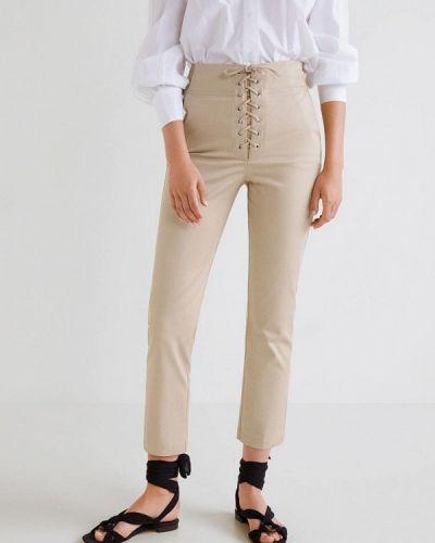 Бежевые брюки с завышенной талией Mango