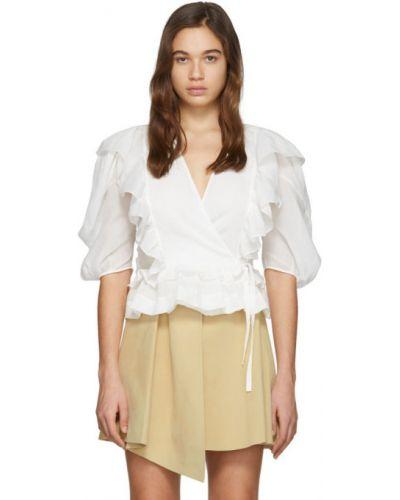 Блузка с коротким рукавом с запахом белая Chloe