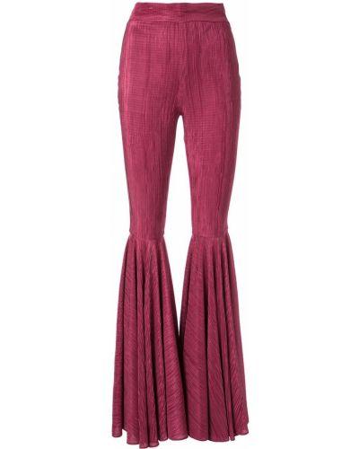 Розовые расклешенные брюки с поясом Dalood