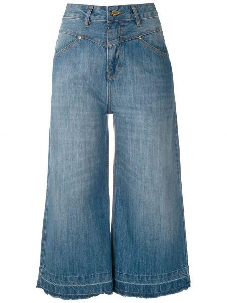 Хлопковые синие прямые джинсы с карманами на пуговицах Amapô