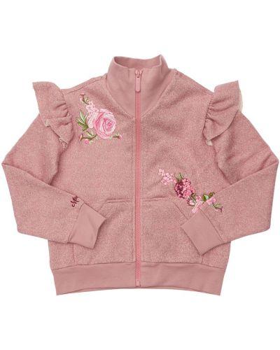 Хлопковый розовый свитшот с вышивкой на молнии Monnalisa