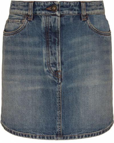 Юбка мини с завышенной талией джинсовая Prada