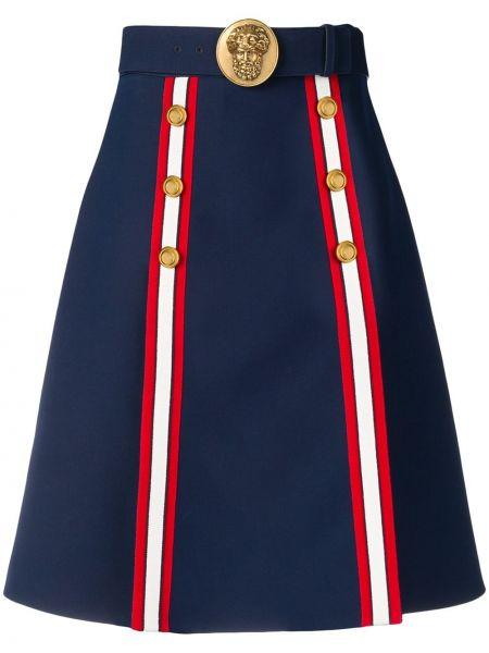 Шерстяная синяя с завышенной талией юбка на пуговицах Gucci
