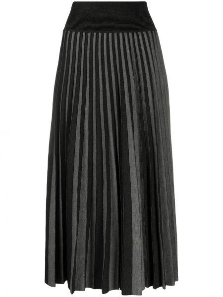 Шерстяная черная прямая юбка миди Agnona